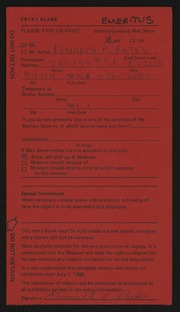 Entry card for Bates, Kenneth F. for the 1984 May Show.
