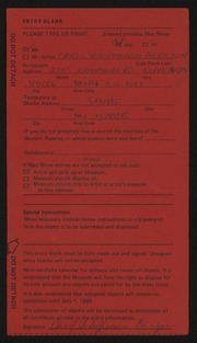 Entry card for Berezin, Carol Schoffmann for the 1984 May Show.