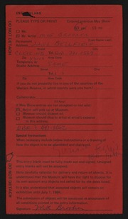 Entry card for Brooker, Moe A. for the 1984 May Show.