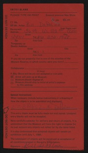 Entry card for DePalma, William for the 1984 May Show.