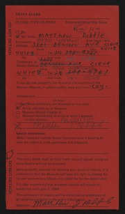 Entry card for Dibble, Matthew James for the 1984 May Show.
