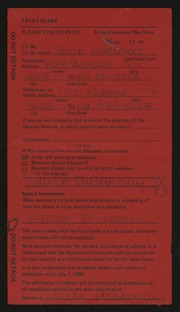 Entry card for Dubaniewicz, Paula Francis for the 1984 May Show.