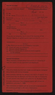 Entry card for Grauer, William C. for the 1984 May Show.