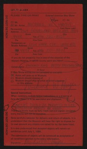 Entry card for Hayes, Michael William, and Pfordresher, Betsy for the 1984 May Show.