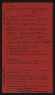 Entry card for Herring, John, and Herring, Kay; McFarland, Earl for the 1984 May Show.
