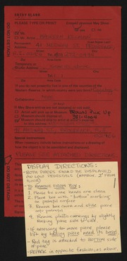 Entry card for Kelman, Maureen for the 1984 May Show.