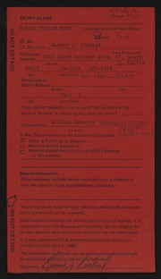 Entry card for Kinkopf, Bonnie J., and Roberts, William for the 1984 May Show.