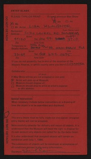 Entry card for Klausner, Lisa for the 1984 May Show.