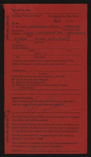 Entry card for Lessman-Moss, Janice for the 1984 May Show.