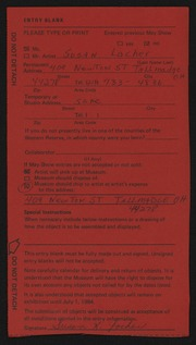 Entry card for Locher, Susan for the 1984 May Show.