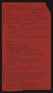 Entry card for Lyons, Ruth A.  for the 1984 May Show.