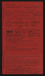 Entry card for McWeeny, Charles A. for the 1984 May Show.