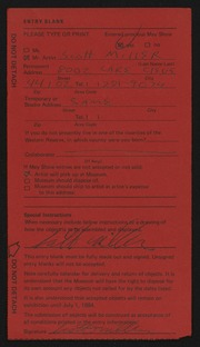 Entry card for Miller, Scott for the 1984 May Show.