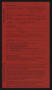 Entry card for Moore, Gregory Todd for the 1984 May Show.