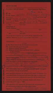 Entry card for Pittenger-Meyer, Judith for the 1984 May Show.