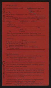 Entry card for Tannock, Stephen M. for the 1984 May Show.