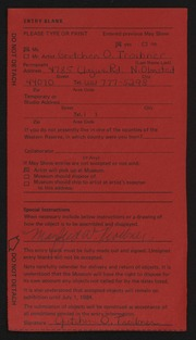 Entry card for Troibner, Gretchen for the 1984 May Show.