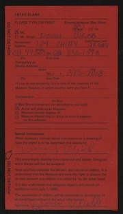 Entry card for Webb, Donna for the 1984 May Show.