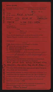 Entry card for Wood, Reid for the 1984 May Show.