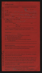 Entry card for Wooten, Robert for the 1984 May Show.