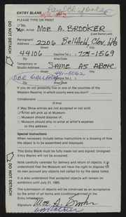 Entry card for Brooker, Moe A. for the 1985 May Show.