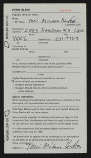 Entry card for Hutton, Toni Milano for the 1985 May Show.