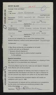 Entry card for Klausner, Lisa for the 1985 May Show.