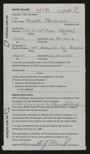 Entry card for Marchione, Kenneth for the 1985 May Show.