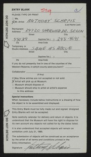 Entry card for Schepis, Anthony Joseph for the 1985 May Show.