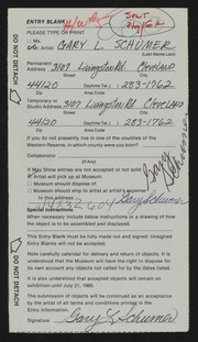 Entry card for Schumer, Gary for the 1985 May Show.