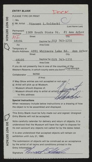 Entry card for Soldacki, Vincent L. for the 1985 May Show.