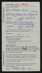 Entry card for Young, Gordon for the 1985 May Show.