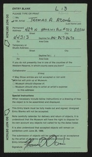 Entry card for Acomb, Thomas A. for the 1986 May Show.