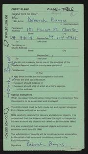 Entry card for Banyas, Deborah  for the 1986 May Show.
