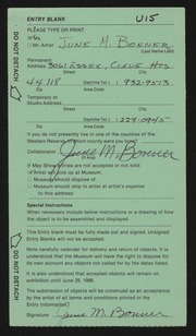 Entry card for Bonner, June M. for the 1986 May Show.