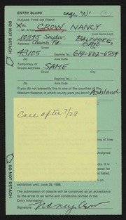 Entry card for Crow, Nancy, and Augenstein, Rose for the 1986 May Show.
