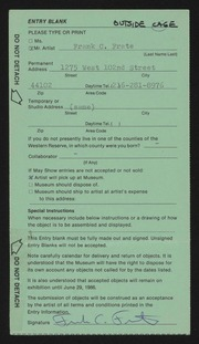 Entry card for Frate, Frank C. for the 1986 May Show.