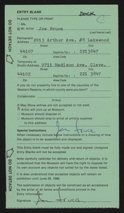 Entry card for Fruce, Joseph Anthony for the 1986 May Show.