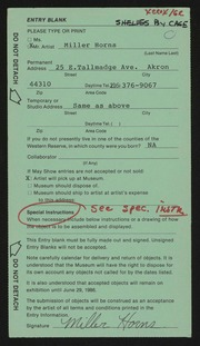Entry card for Horns, Miller for the 1986 May Show.