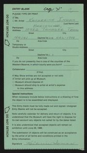 Entry card for Inman, Katherine for the 1986 May Show.