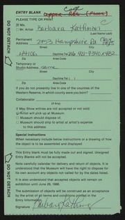 Entry card for Kathman, Barbara A. for the 1986 May Show.