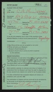 Entry card for McWeeny, Charles A. for the 1986 May Show.