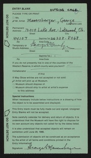 Entry card for Mauersberger, George for the 1986 May Show.
