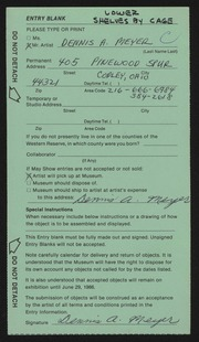 Entry card for Meyer, Dennis A. for the 1986 May Show.