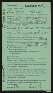Entry card for Moriarty, David Michael for the 1986 May Show.