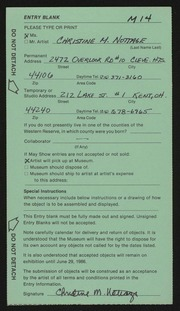 Entry card for Nottage, Christine M. for the 1986 May Show.