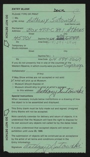 Entry card for Sutowski, Anthony for the 1986 May Show.