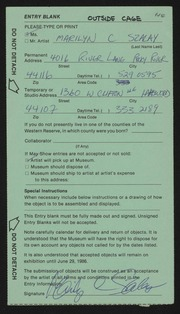 Entry card for Szalay, Marilyn C. for the 1986 May Show.