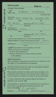 Entry card for Thurmer, Robert for the 1986 May Show.
