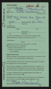 Entry card for Waskawicz, Walter for the 1986 May Show.